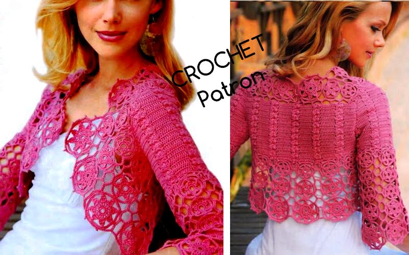 Bolero Rosa en Crochet con Patron - GanchilloGanchillo