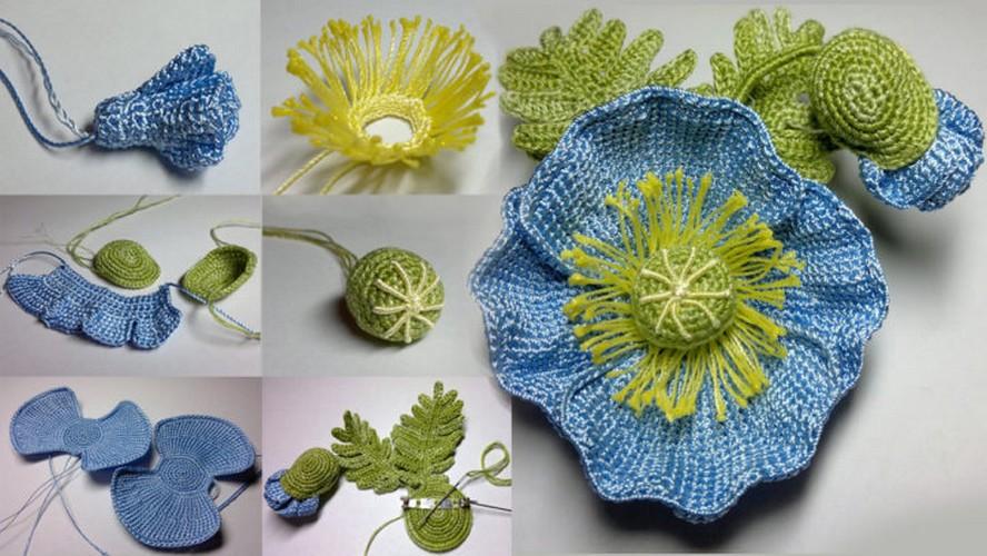 maravillosa flor azul de crochet