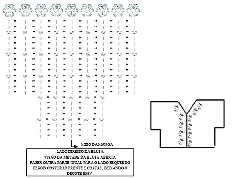 Blusa blanca de crochet con mangas murciélago - GanchilloGanchillo