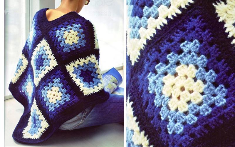 Poncho Azul Con Cuadrados De La Abuelita Ganchilloganchillo