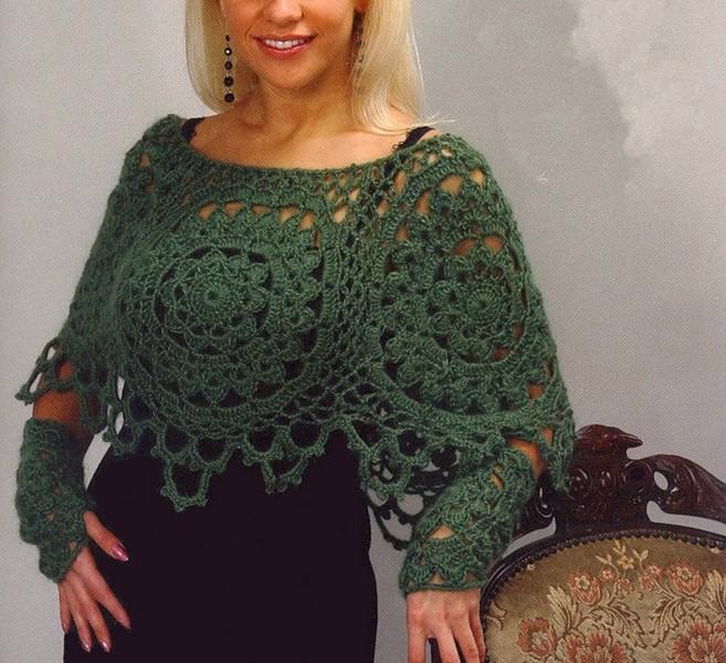 poncho-verde-en-crochet-con-patrones-3