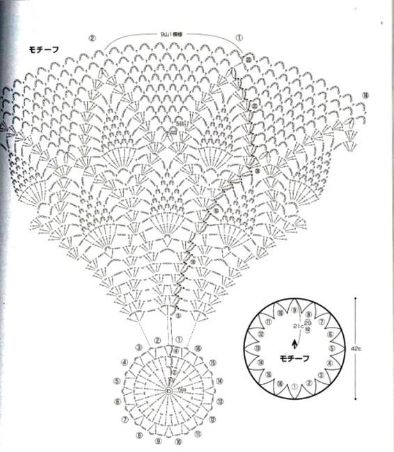 Bolero circular con motivo de piñas - GanchilloGanchillo