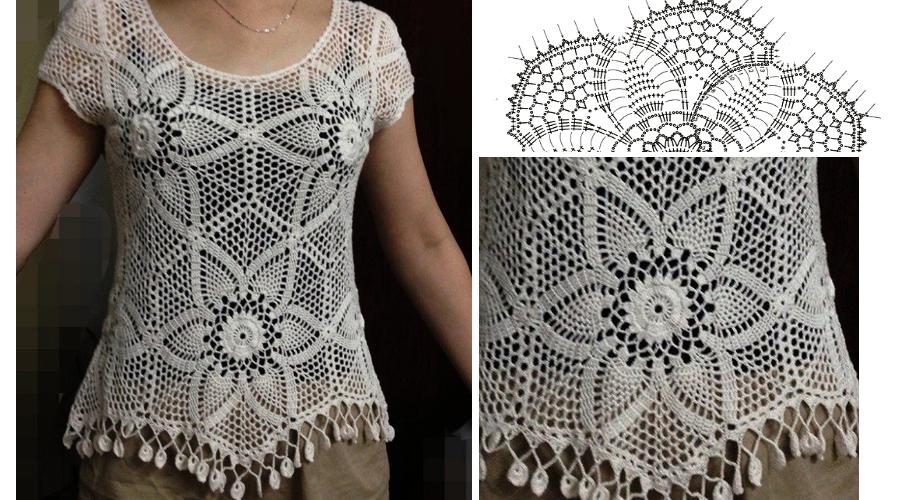 Blusa Tejida en Crochet con Patrones - GanchilloGanchillo