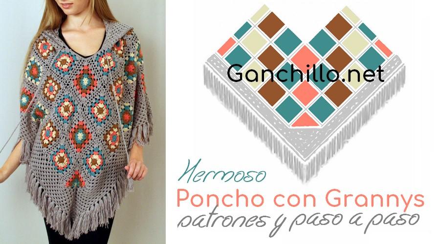 Poncho con Grannys - Patrones y paso a paso - GanchilloGanchillo